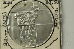 1985 Hungary 500 Forint Budapest Cultural Forum Silver Coin Mint State Num6135