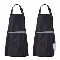 Vinyl Lined Waterproof Black Aprons For Women And Men, W28xl34-inch Black X2