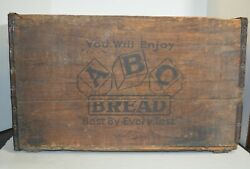 Estate Vintage Abc Bread Wooden Large Wood Box Shipping Crate Rustic Storage