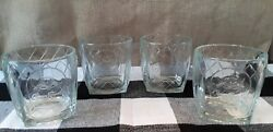 Crown Royal Cathedral Clear Embossed Square Base Rocks Glasses Set Of 4