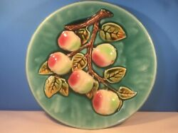 Antique French Majolica Palissy Apples On Branch Wall Plaque Platter