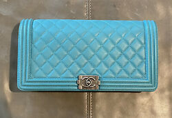 Nwt France Quilted Boy Bag Clutch Dark Turquoise Ruthenium 3600