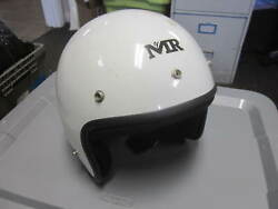Vintage Nos M2r Made 2 Race Open Face White 5 Snap Large Motorcycle Helmet