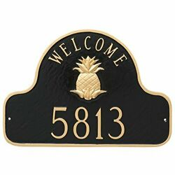 Montague Metal Pineapple Welcome Arch Address Sign Plaque 11 X 16 Black/gold