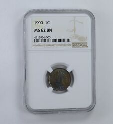 Ms62 Bn 1900 Indian Head Cent - Blue Tone - Graded Ngc 1614