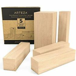 Carving Blocks, Set Of 5 Pieces,one 4 X 2 X 2 Inch And Four 4 X 1 X 1 Inch Block