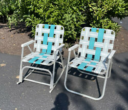 Vintage Pair Of 2 Aluminum Multicolored Webbed Folding Beach Lawn Chairs Retro
