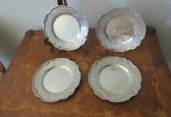 Set Of Four Antiques 800 German Solid Sterling Silver Plates
