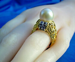 Real Deco Natural Sapphire Pearl Designer Engagement Ring Unique Solid 14k Gold