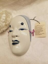 Pier 1 Japanese Ko-omote Pretty Young Woman Mask Wall Hanging Blue White Ceramic
