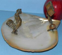 Antique Austrian Bronze Rooster With Music Stand Mounted On A Mop Shell