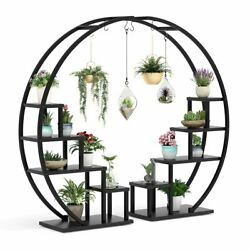 Graden Wood Plant Stand W/ 10 Shelves And 4 Fixed And 2 Movable Hooks, Ladder Design