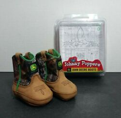 John Deere Baby Infant Johnny Popper Leather Boots Brown Camo Jd1188 Size 0