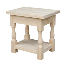 Traditional Solid Wood Side End Table W/ Shelf Thick Top Turned Legs Unfinished