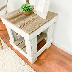 Rustic Farmhouse Side End Table W/ Shelf Reclaimed Solid Wood Distressed Finish