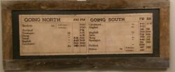 Large Painted Antique Time Table For Trains Traveling Thru Maine To Mass.