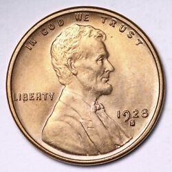 1928-s Lincoln Wheat Cent Penny Choice Bu Red Very Tough Free S/h E945 Jhlm