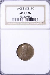 1909-s Vdb Lincoln Wheat Cent Penny Ngc Ms61 Bn Free Shipping Acemr
