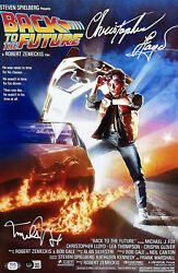 Michael J Fox Christopher Lloyd Signed 11x17 Back To The Future Poster Photo Bas