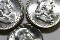 Mixed Date Bu Roll Of 90 Silver Franklin Half Dollars-nice Coins Num6198