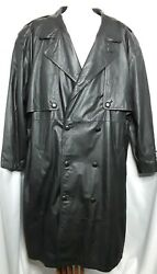 Marco Serafino Mens Trench Coat Sz 3x Black Long Leather Big Lined Button Front