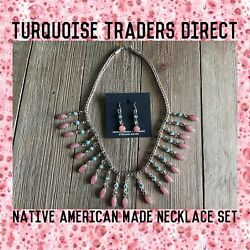 Native American Made Turquoise And Rhodochrosite Sterling Silver Necklace Set Sign