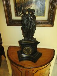 French H And F Paris Patinated Bronze Three Graces After Pilon Black Slate Clock