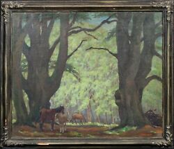 Large 20th Century New Forest Woodland Landscape And Ponies By Charles Leek