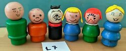 L7 Fisher Price 6 Wooden Little People-lady Man Boy Blonde Pigtail Girl +