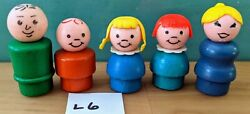 L6 Fisher Price 5 Wooden Little People-lady Man Boy Blonde Pigtail Girl +
