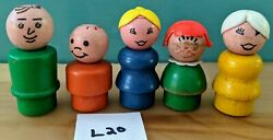 L20 Fisher Price 5 Wooden Little People-man White Hair Lady Red Hair Girl Boy