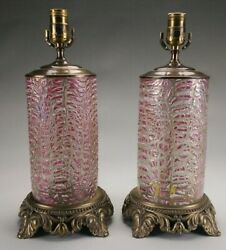 Pair Of Art Glass Crackle Glass Lamp Bases.