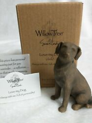 Willow Tree Love My Dog Dark - Hand Painted/sculpted Nib Free Shipping