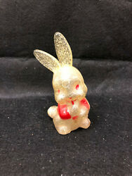Vintage Rare Irwin Hard Plastic Easter Bunny Rattle Clear With Sparkles 4h