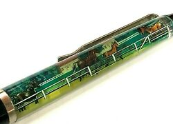 Vintage Kentucky Souvenir Floaty Pen Moving Floating Horse Blue Grass Country