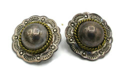 Vintage Taxco 925 Sterling Silver Twisted Ball Edge Round Dome Clip-on Earrings