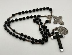 Antique Rosary Wood Beads, French Cross Italian Medals. Singing Nun