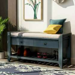 Shoe Rack With Cushioned Seat And Drawers Multipurpose Entryway Storage Bench Us