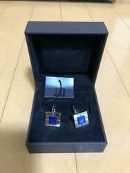 Dunhill Sterling Silver 925 Blue Shell Cufflinks Square Plate Toggle