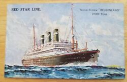 Belgenland Red Star Starboard Bow View At Choppy Sea. C1930