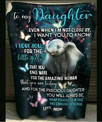 To My Daughter Love From Mom Cute Elephant Gift Blanket Bedroom Decor