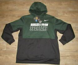 Nike Michigan State Spartans On-field Therma-fit Sideline Hoodie Jacket Men's Xl