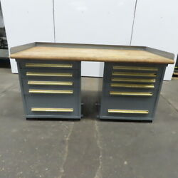 Butcher Block Top 11 Drawer Small Parts Storage Work Station Bench 36dx72wx36h