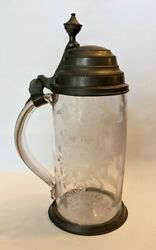 18th Century Blown Glass And Pewter Stein