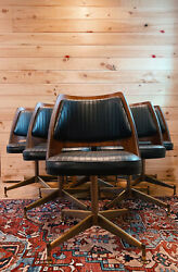 6 B. Brody Dining Chairs With Matching Vintage Mid Century Table With Leaf
