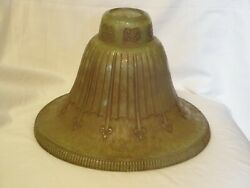 Antique Art Deco Torchiere Lamp Shade,rare Green 2 Tone Color,textured Glass
