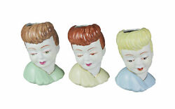 Set Of 3 Hand Painted Ceramic 1950and039s Style Lady Head Mini Planters