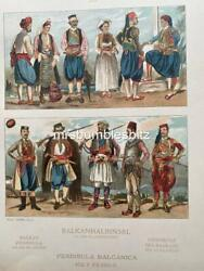 1924 Costume Of Balkan Peninsula Colour Lithographic Print By Max Tilke
