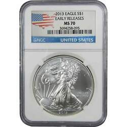 2013 American Eagle Dollar Ms 70 Ngc 1 Oz .999 Silver 1 Coin Early Releases