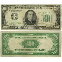 1928 500 Small Size Federal Reserve Note New York F Fine Us Currency